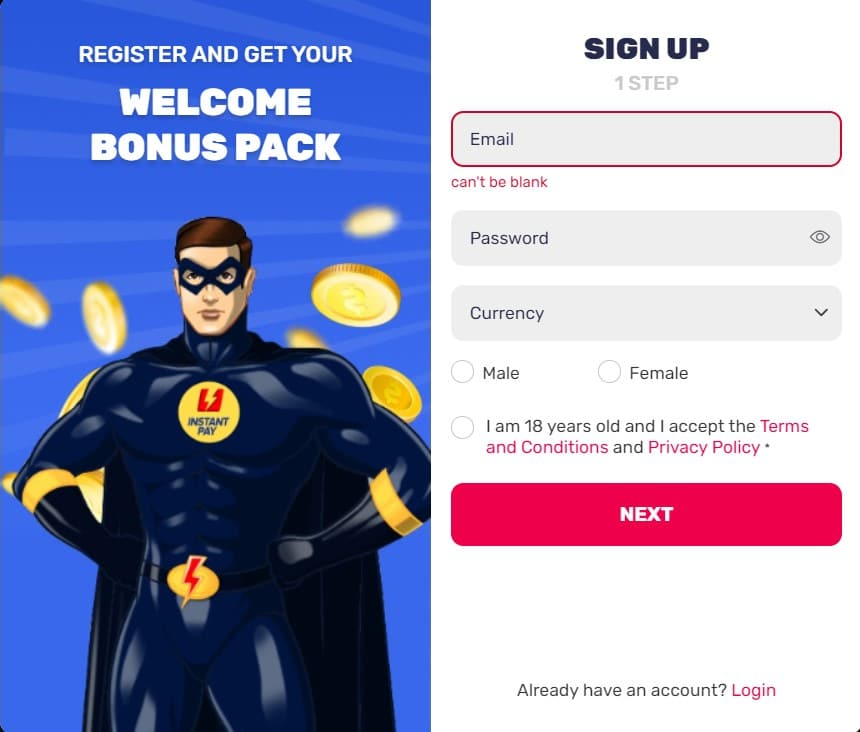 InstantPay Casino Sign Up