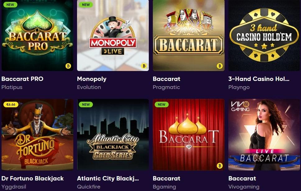 Bao casino table games