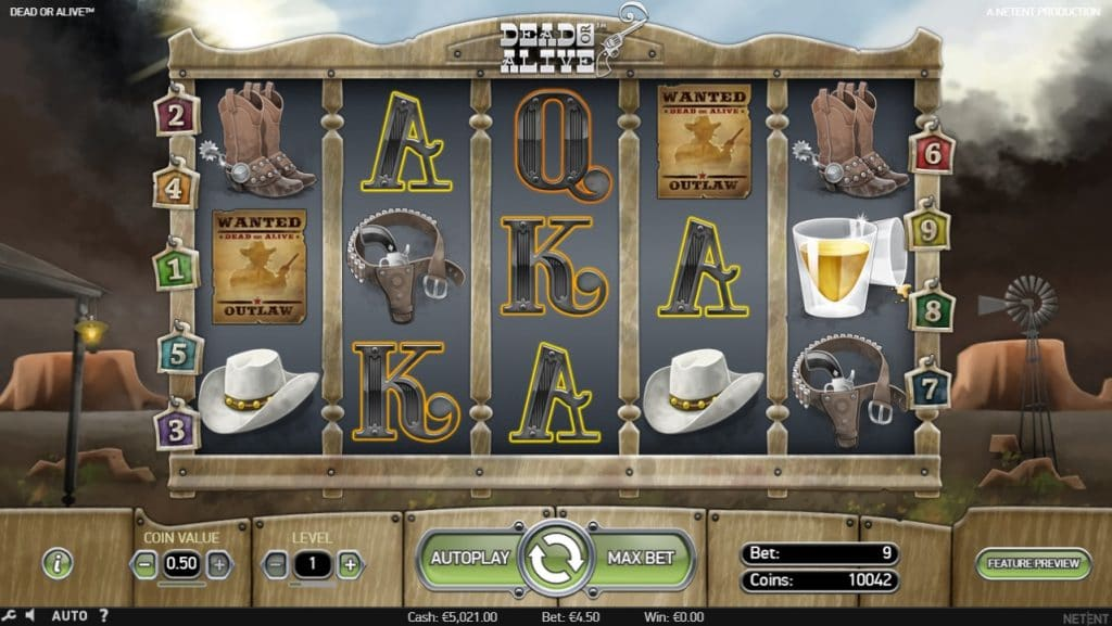 Dead or Alive slot gameplay